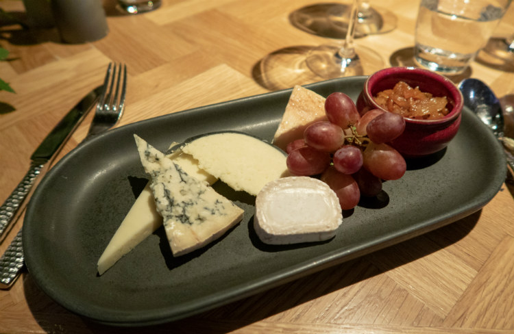 A delicious selection of cheeses to finish your meal at the Aria restaurant