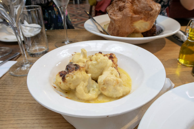 A side portion of Cauliflower Cheese at the Edwardian Tearooms at the Birmingham Museum and Art Gallery