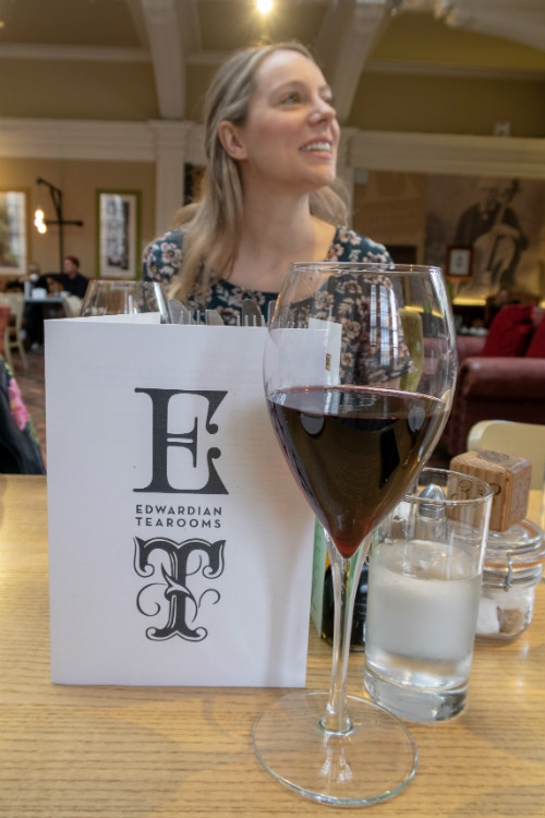 A glass of wine at the Edwardian Tearooms at the Birmingham Museum and Art Gallery