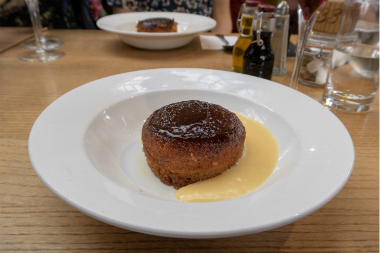 Sticky Toffee Pudding with Custard at the Edwardian Tearooms at the Birmingham Museum and Art Gallery