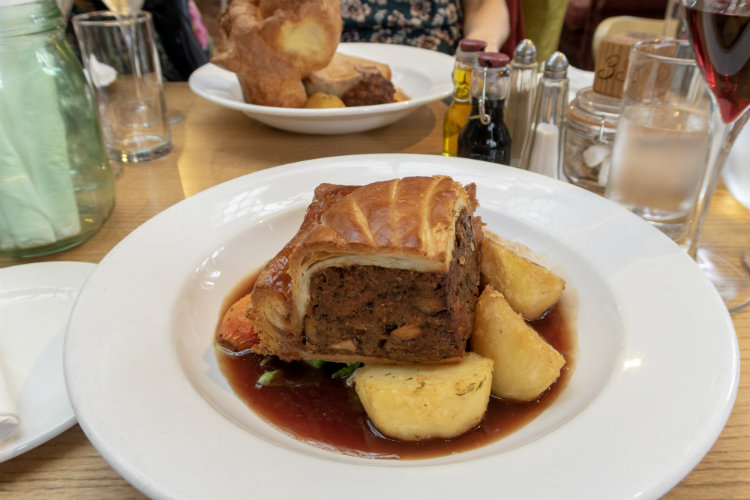 Wild Mushroom Wellington, the vegetarian option for Sunday Lunch at the Edwardian Tearooms at the Birmingham Museum and Art Gallery