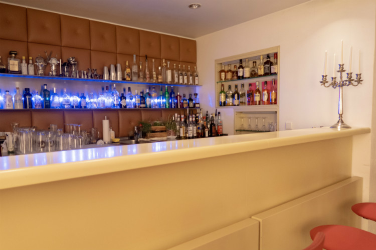 The well stocked bar at Hotel Drei Raben in Nuremberg, Germany