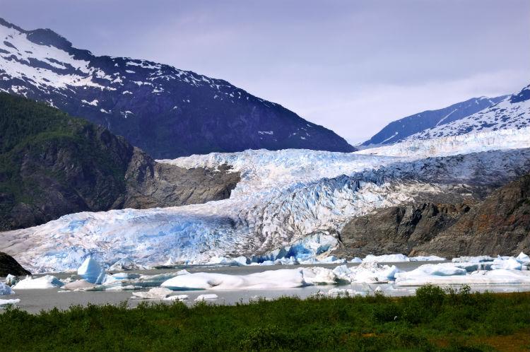 The Mendenhall glacier near Juneau in Alaska