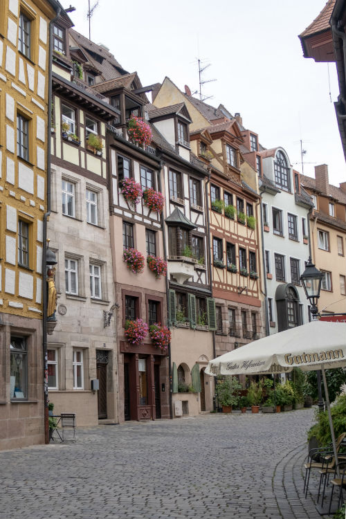 A view from the lower end of Weiβgerbergasse in Nuremberg, Germany