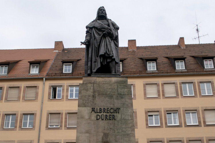 A statue of Albrecht Dürer in Nuremberg, Germany