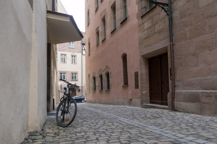 A bicycle parked in a side street in Nuremberg, Germany