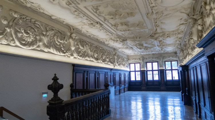 A highly decorative Baroque stucco ceiling in the City Museum at Fembo House, Nuremberg (Germany)