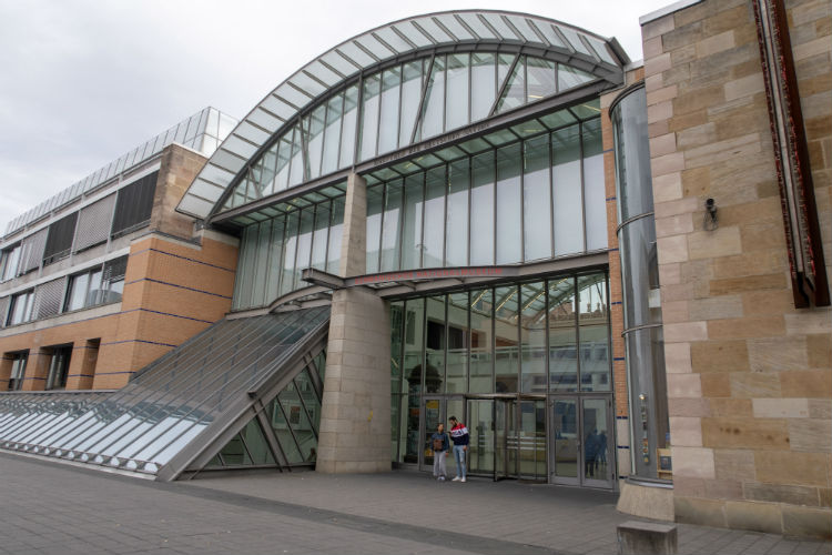 Main entrance of the Germanisches Nationalmuseum (Germanic National Museum) in Nuremberg, Germany