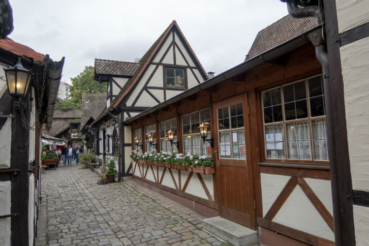 A restaurant in the Handwerkerhof or Craft Workers' Courtyard in Nuremberg, Germany
