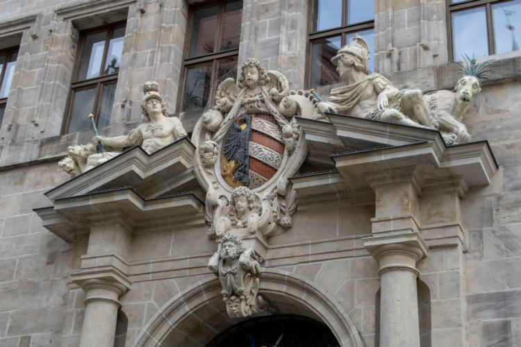 An elaborate doorway at the Old Town Hall (Altes Rathaus) in Nuremberg, Germany