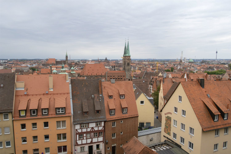 A view out over the rooftops of Old Town Nuremberg