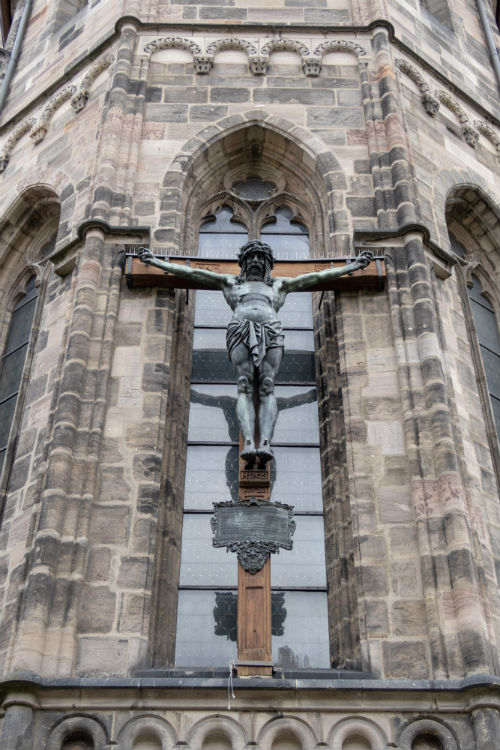 Crucifix statue at St Sebaldus church in Nuremberg, Germany