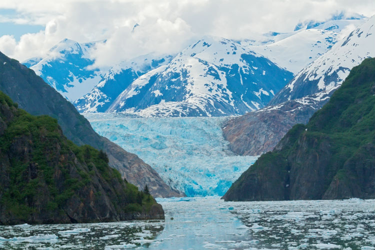 The blue ice of the Sawyer glacier in Alaska, USA