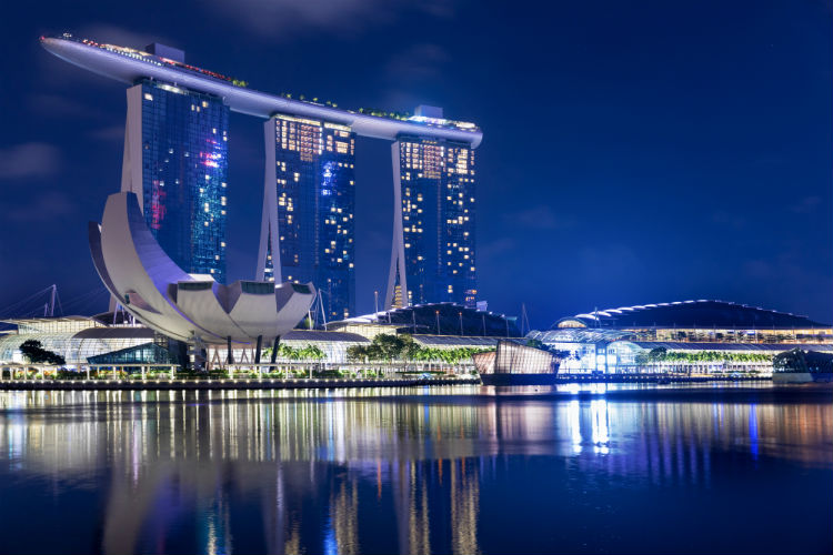 The Marina Bay Sands hotel in Singapore by night