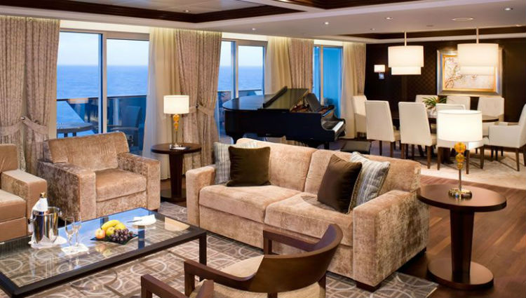 A luxurious Penthouse Suite onboard a Celebrity Cruises ship