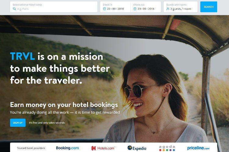 A screenshot of the TRVL website home page