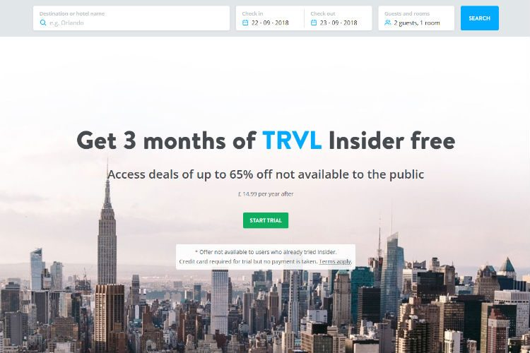 A screenshot of the TRVL Insiders sign up page