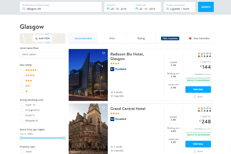 A screenshot of the TRVL hotel listing page