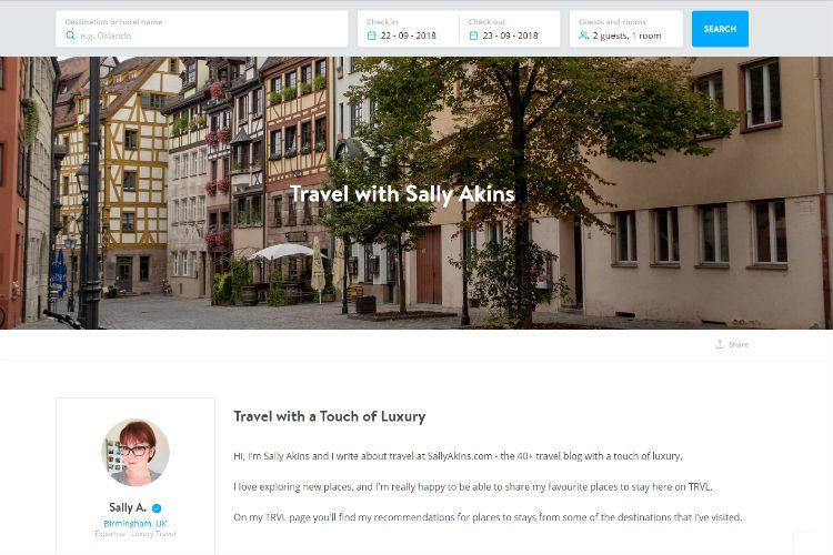 A screenshot of the Sally Akins TRVL page, where you can find and book my recommended hotels