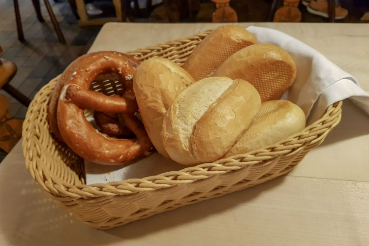 A selection of bread at the Behringer's Bratwursthäusle restaurant in Nuremberg