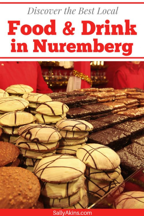 A pinnable image showing Lebkuchen or gingerbread on sale in Nuremberg
