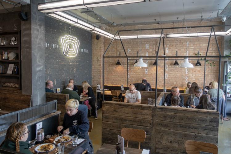 The Pieminister restaurant in Birmingham, UK, has an industrial decor