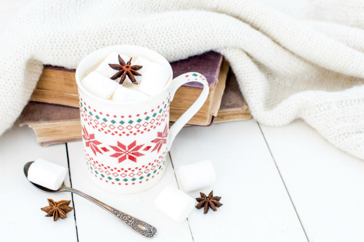 Books, a snuggly blanket and a mug of hot chocolate.