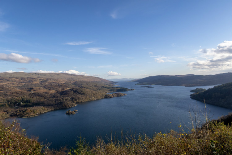 Looking out over the Kyles of Bute from the Tighnabruaich viewpoint, Scotland