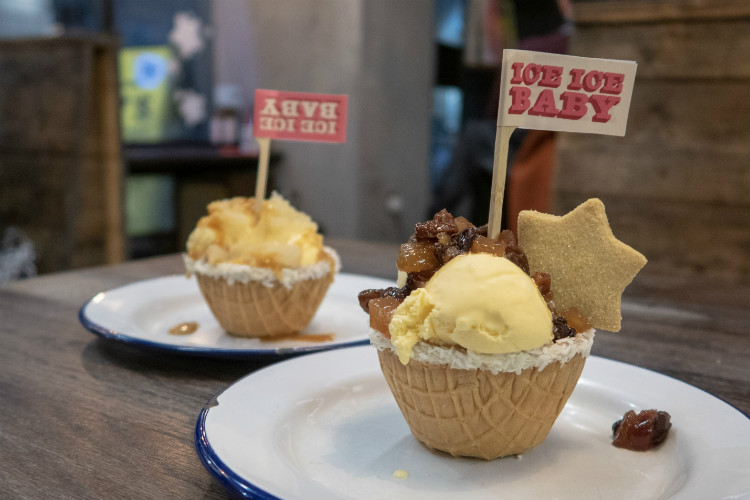 The Pieminister Mince Pie ice cream sundae, with the Pieminister Apple Pie ice cream sundae in the background