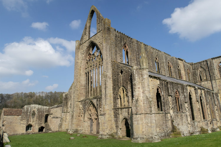 The ruins of Tintern Abbey in Monmouthshire, Wales