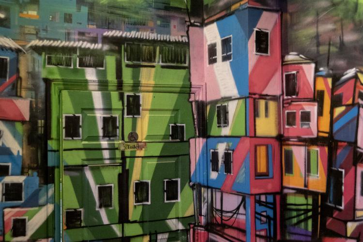 Colourful street art style decor inside the Bodega Cantina in Birmingham, UK