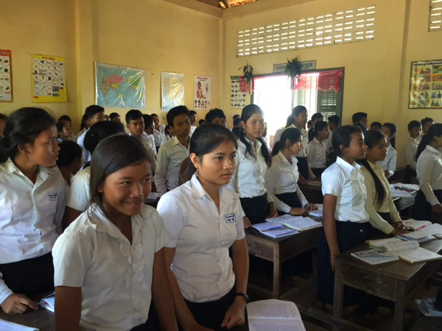 Students at the Chansar Village High School in Cambodia, which is supported by Travelsphere Cares