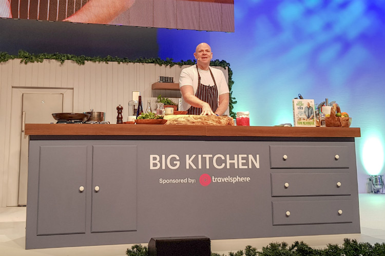 Tom Kerridge on stage in the Travelsphere Big Kitchen at the BBC Good Food Show in Birmingham, 2018