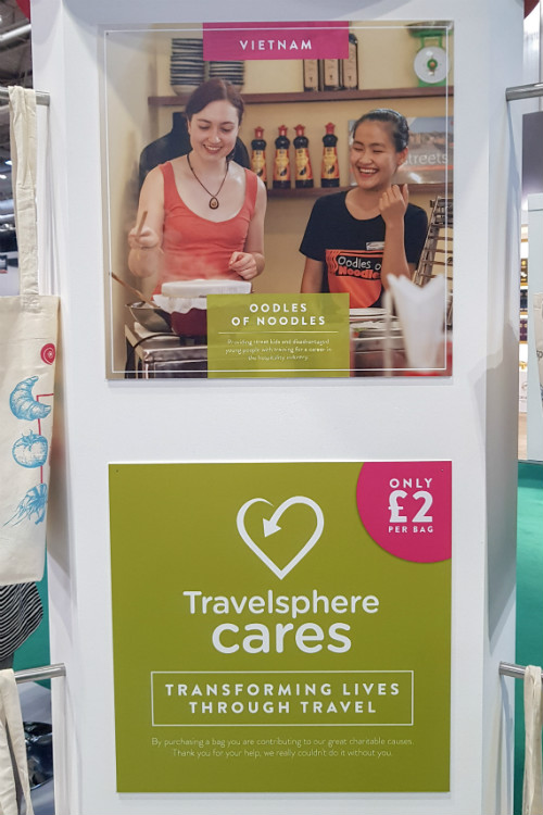 A Travelsphere Cares display on the Travelsphere stand at the BBC Good Food Show in Birmingham, 2018