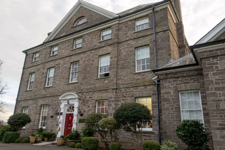 The front aspect of Peterstone Court Country House Hotel & Spa, near Brecon in South Wales