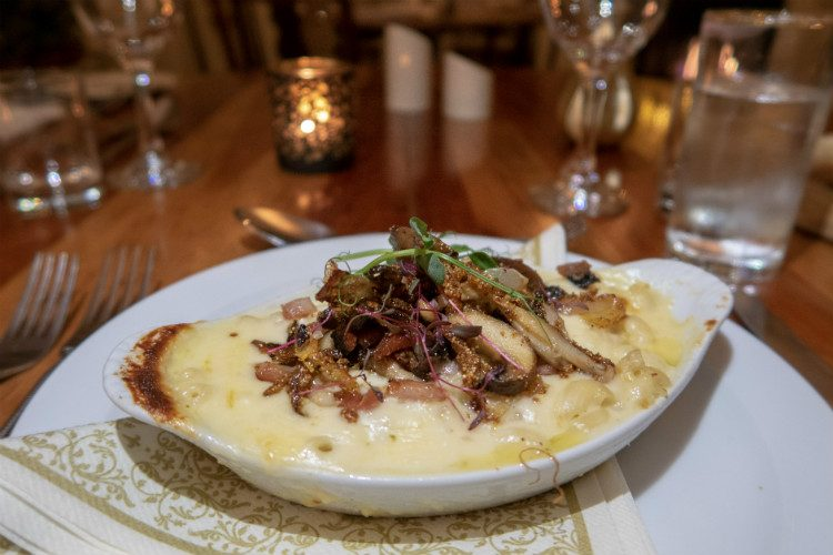 Mac and Cheese, topped with mushrooms, served as a starter at Peterstone Court, Brecon, South Wales
