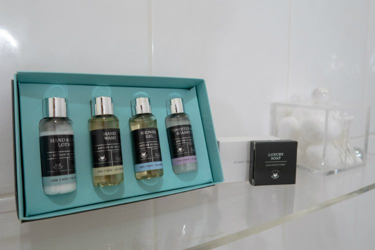 A selection of complimentary toiletries in the ensuite bathroom at Peterstone Court hotel, Brecon, South Wales.