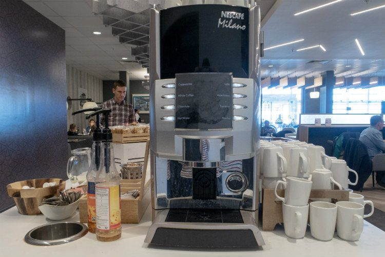 You can help yourself to coffee, tea and hot chocolate at Aspire Lounges airport lounge in Liverpool airport