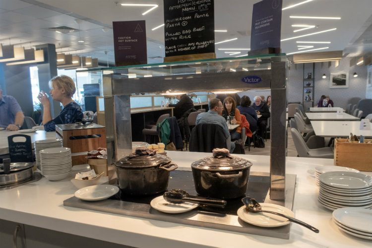 A selection of hot foods at Aspire Lounges airport lounge in Liverpool airport