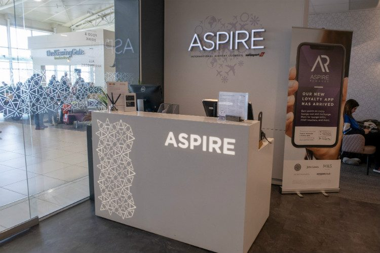 The reception desk at Aspire Lounges airport lounge in Liverpool airport