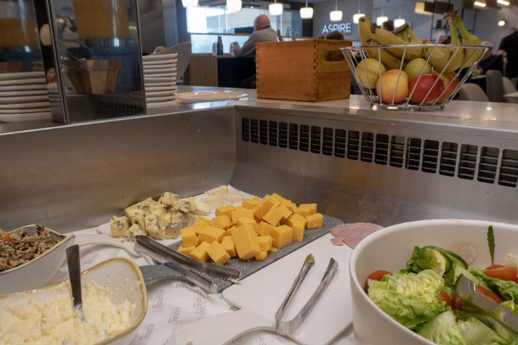 The salad bar at Aspire Lounges airport lounge in Liverpool airport