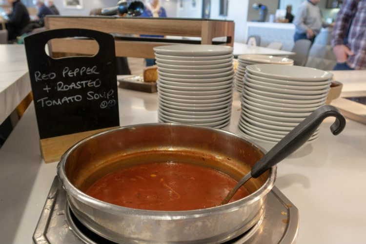 Hot fresh soup at Aspire Lounges airport lounge in Liverpool airport