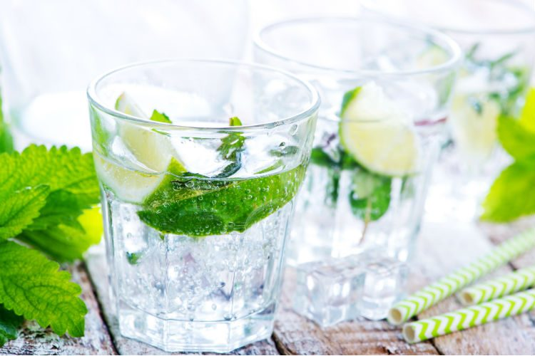 Glasses of water with lime and mint