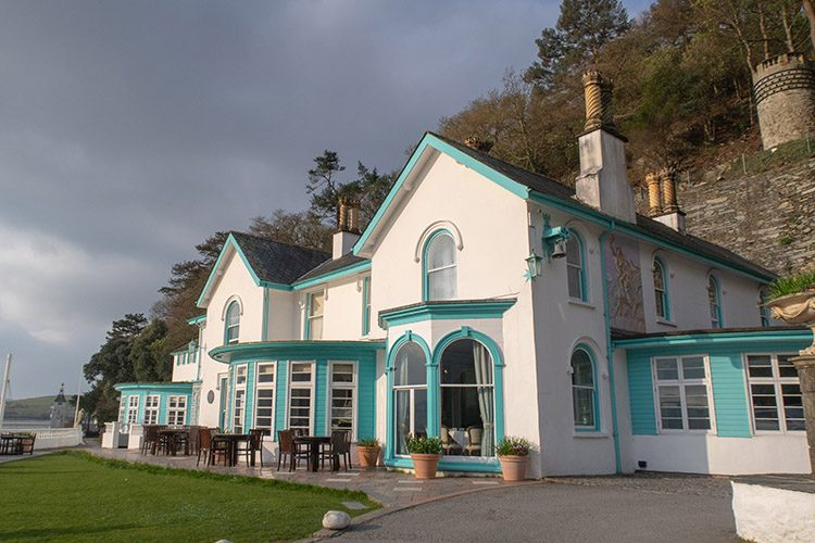 The front aspect of Hotel Portmeirion, a luxury hotel in North Wales