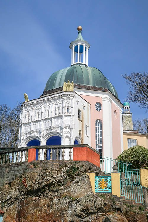 The Pantheon at Portmeirion village, North Wales. One of the classical buildings used as a location for filming of the 1960s TV show, The Prisoner
