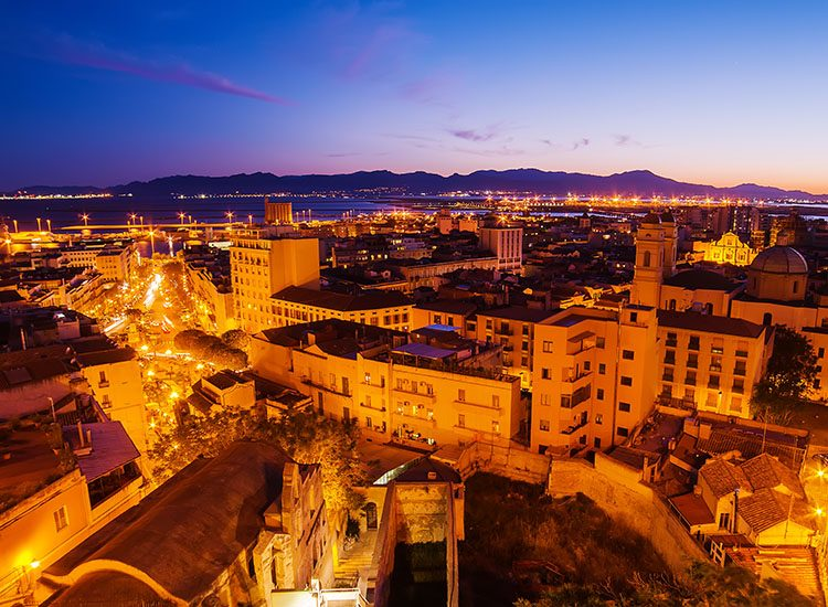 Sunset over Cagliari, the capital city of Sardinia