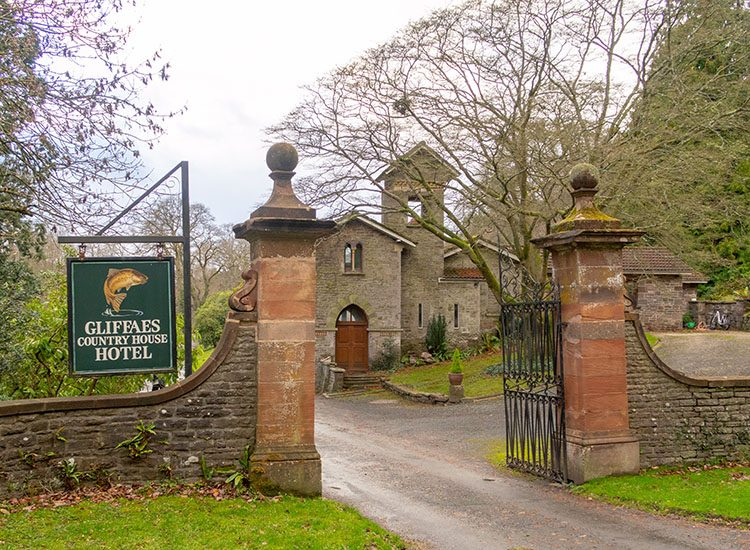 The gates leading to Gliffaes Country House Hotel, near Brecon in Wales