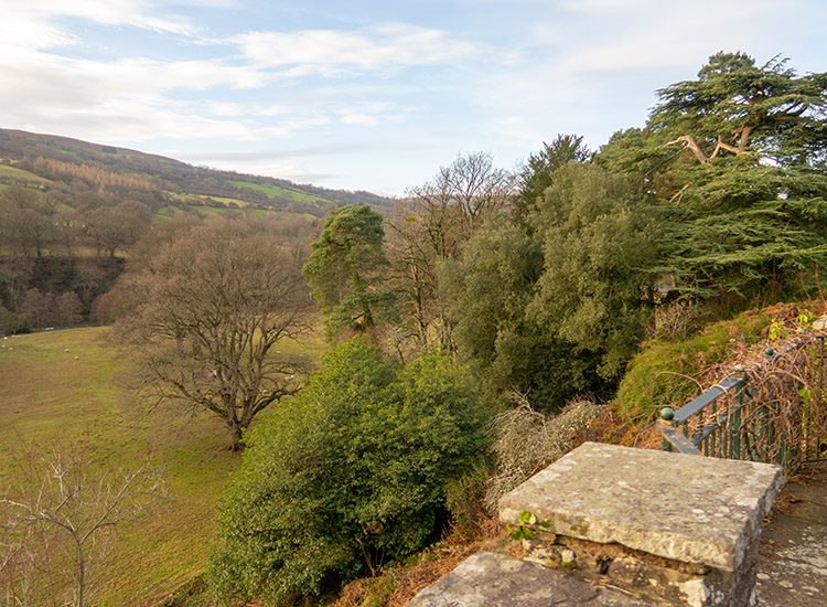The view down to the river Usk behind Gliffaes Country House Hotel, near Crickhowell in South Wales