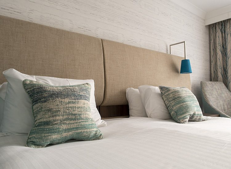 Luxury bed linen at Warner Leisure Hotels Studley Castle in Warwickshire, England