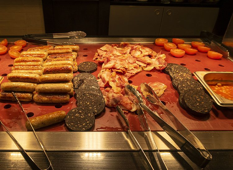 A Full English breakfast selection at Warner Leisure Hotels Studley Castle in Warwickshire, England